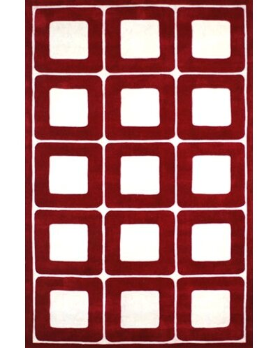 Modern Living Deco Blocks Red/White Rug by American Home Rug Co.