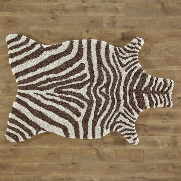 Zebra Stripe Hand-Tufted Faux Cowhide Ivory/Brown Area Rug by Birch Lane Kids™
