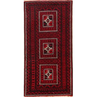 Look for One-of-a-Kind Mccarthy Balouch Persian Traditional Hand-Knotted 3'5 x 6'3 Wool Burgundy/Black Area Rug By Isabelline