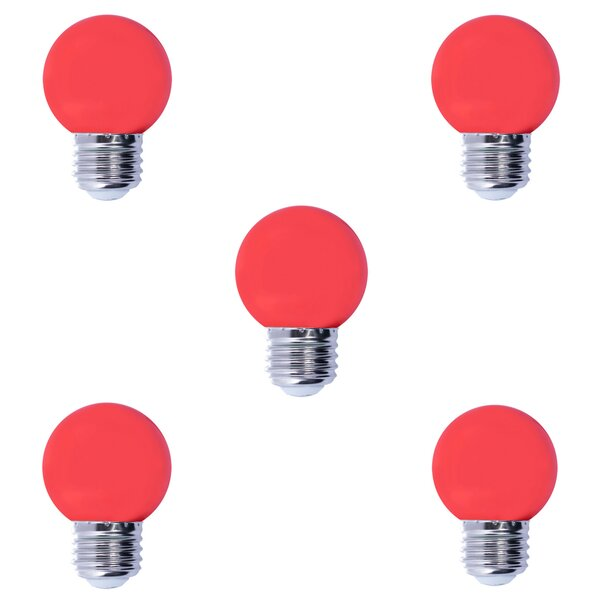 1W E26 LED Light Bulb Red (Set of 5) by Bulbrite Industries