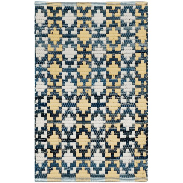 Saleem Hand-Woven Gold/Navy Area Rug by Bungalow Rose