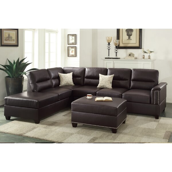 Bobkona Toffy Reversible Sectional with Ottoman by Poundex