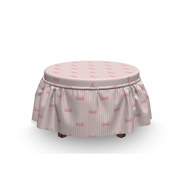 Baby Vertical Stripes Bow Tie 2 Piece Box Cushion Ottoman Slipcover Set By East Urban Home