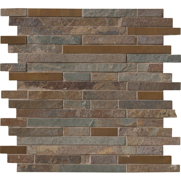Rustic Creek Interlocking Stone/Metal Mosaic Tile in Multicolor by MSI