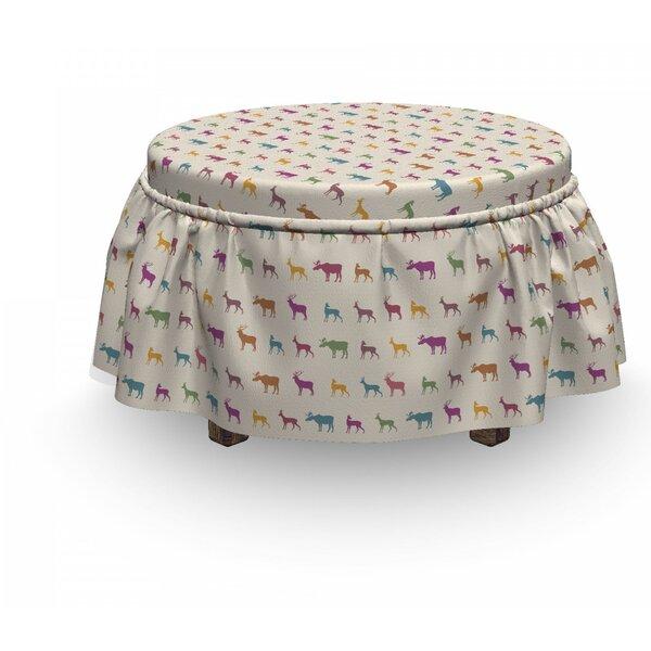 Deer Animal Silhouettes 2 Piece Box Cushion Ottoman Slipcover Set By East Urban Home