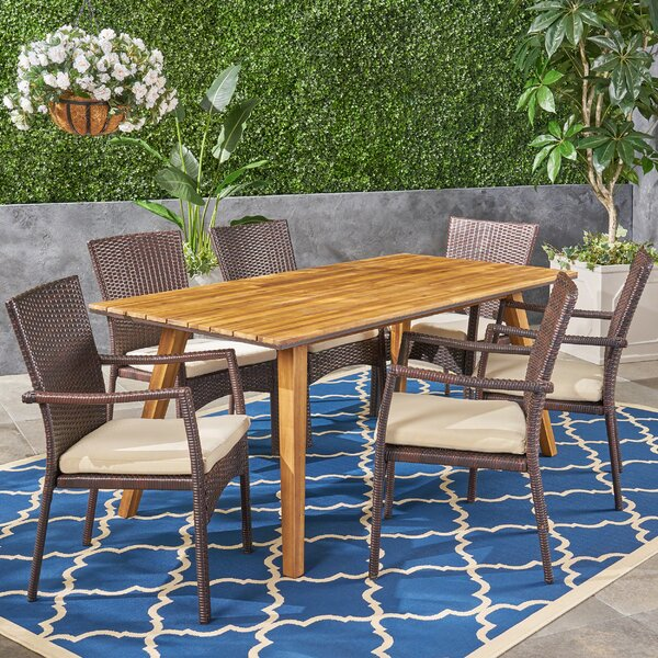Gilda 7 Piece Teak Dining Set with Cushions by Bungalow Rose