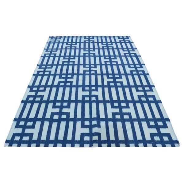 One-of-a-Kind Flat Weave Reversible Kilim Hand-Knotted Ivory/Navy Area Rug by Ivy Bronx
