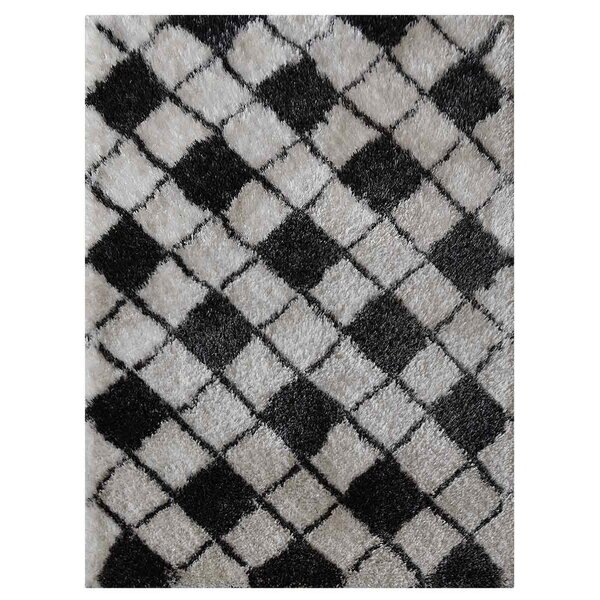 Bitteridge Shag Hand-Woven Gray/Black Area Rug by Winston Porter