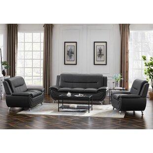 Ales 3 Piece Faux Leather Living Room Set by Orren Ellis