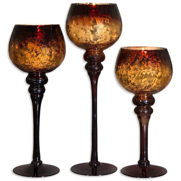 3 Piece Glass Candle Holder Set by World Menagerie