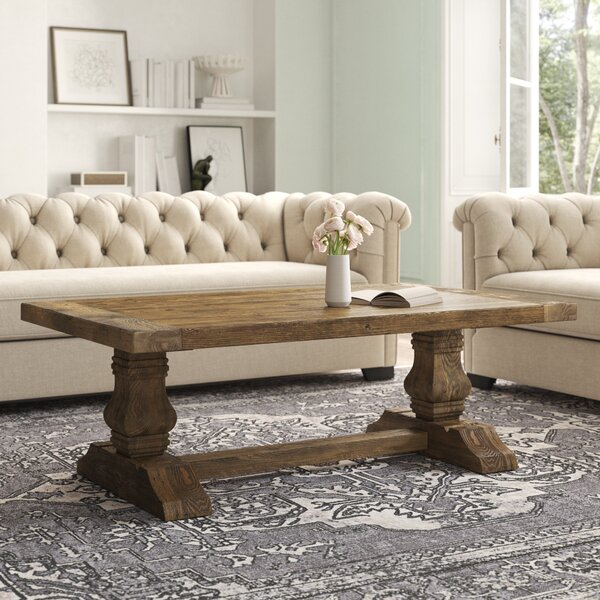 Summit Solid Wood Trestle Coffee Table By Kelly Clarkson Home