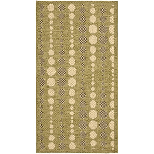 Catharine Creme/Olive Indoor/Outdoor Area Rug by George Oliver