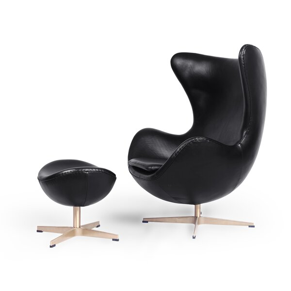 Mccammon Ecume Premium Leather Swivel Balloon Chair and Ottoman by Orren Ellis