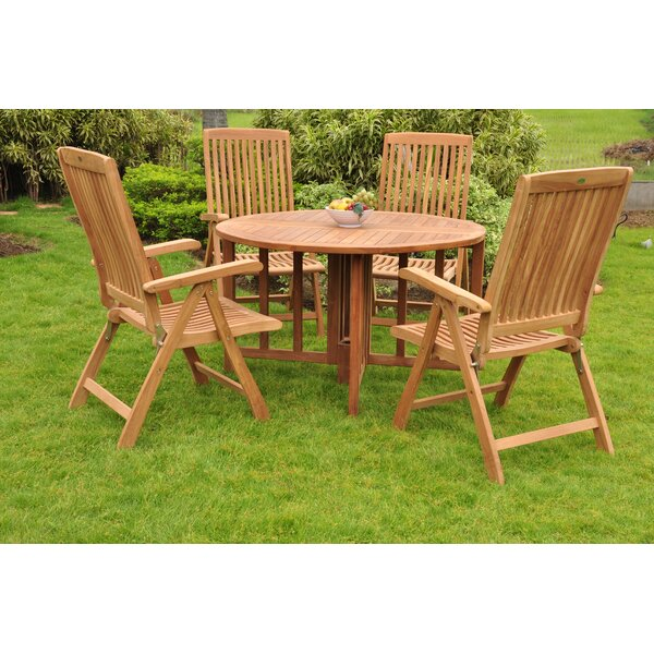 Harney Luxurious 5 Piece Teak Dining Set by Rosecliff Heights