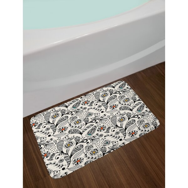 Floral Spring Foliage Bath Rug by East Urban Home