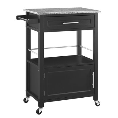 Andover Mills Elsie Kitchen Cart with Granite Top Base Finish: Black