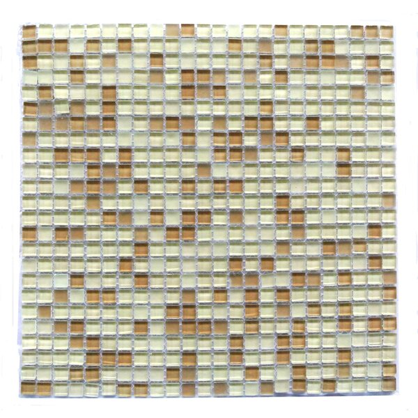 Petite 0.38 x 0.38 Glass Mosaic Tile in Beige by Abolos
