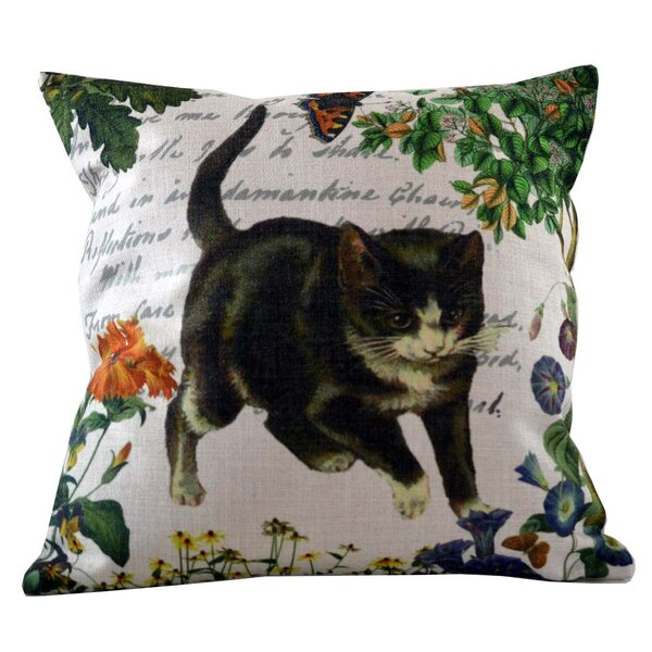 Kitten and Butterfly Throw Pillow Cover by Golden Hill Studio