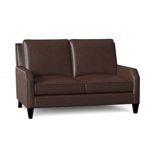 Caroline Genuine Leather 59.5 Square Arm Loveseat