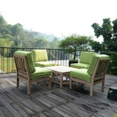 Kensington 5 Piece Teak Sofa Seating Group with Cushions by Cambridge Casual