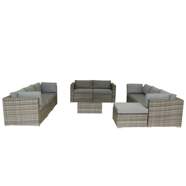 Epley Outdoor 5 Piece Rattan Sofa Seating Group with Cushions by Brayden Studio