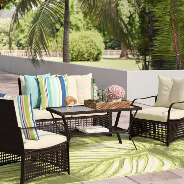 Ellenberger 4 Piece Sofa Set with Cushions by Bay Isle Home