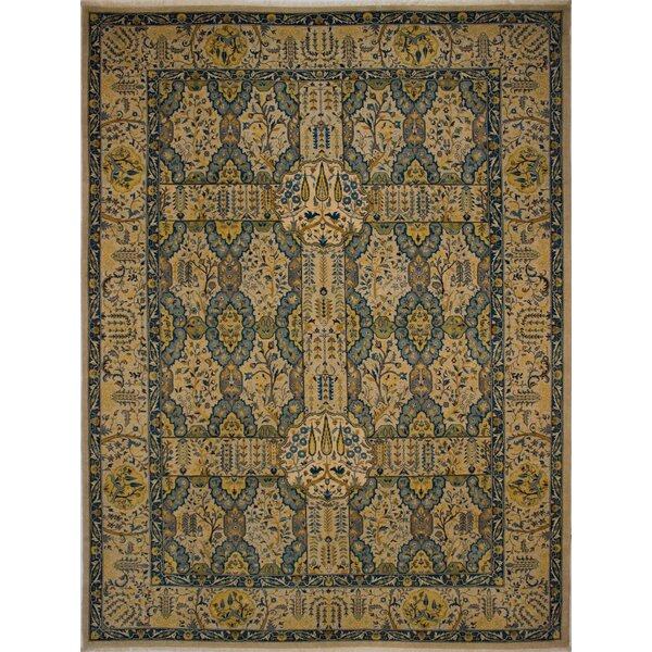 Branner Turkish Hand-Knotted Wool Beige/Blue Area Rug by World Menagerie