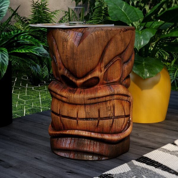 Elwanda Grand Tiki Sculptural Side Table by Beachcrest Home