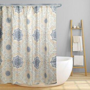 Dishon Floral Scroll Medallion Shower Curtain