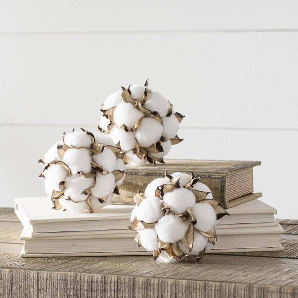 Kingsville Cotton Ball Orbs Vase Filler (Set of 3) by Laurel Foundry Modern Farmhouse