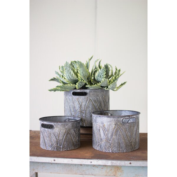 Wheless 3 Piece Pressed Galvanized Metal Pot Planter Set by Gracie Oaks