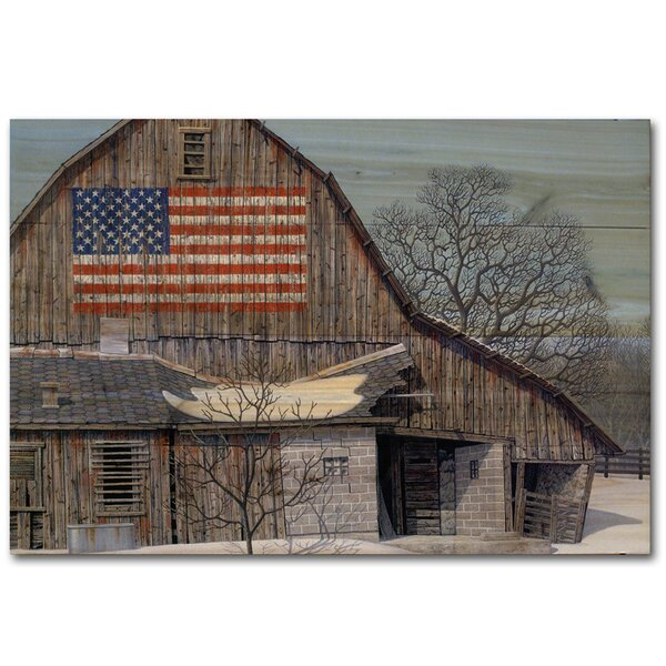 Old Barn Old Glory by Robert Richert Painting Print Plaque by WGI-GALLERY