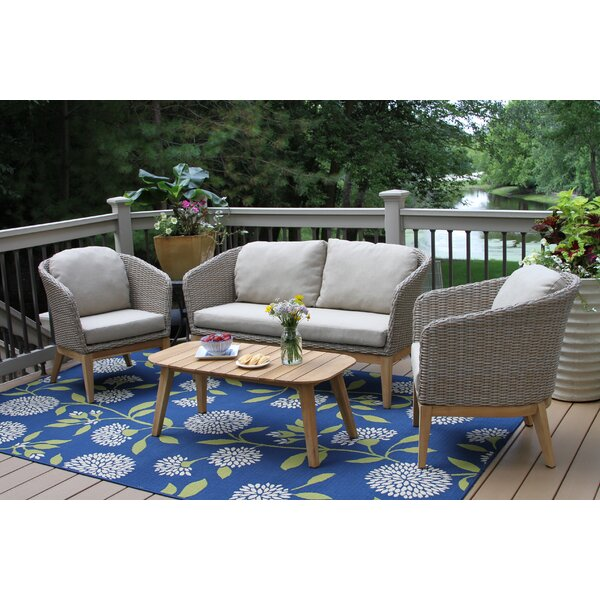Patterson 4 Piece Teak Sofa Seating Group with Cushions