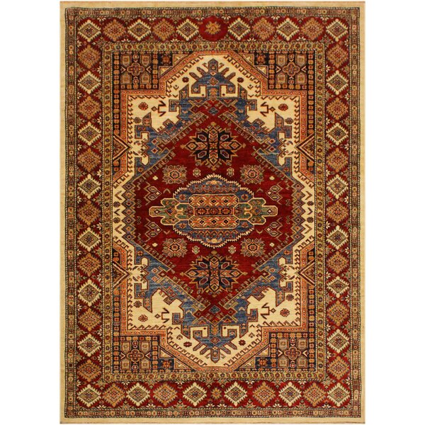 One-of-a-Kind Ronan Super Kazak Hand-Knotted Wool Ivory/Red Area Rug by Astoria Grand