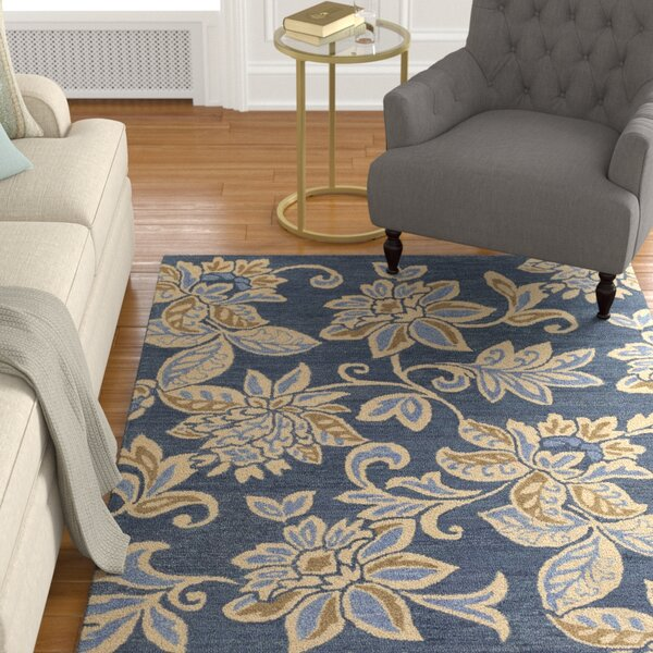 Eberhard Hand-Tufted Blue/Off-White Area Rug by Charlton Home