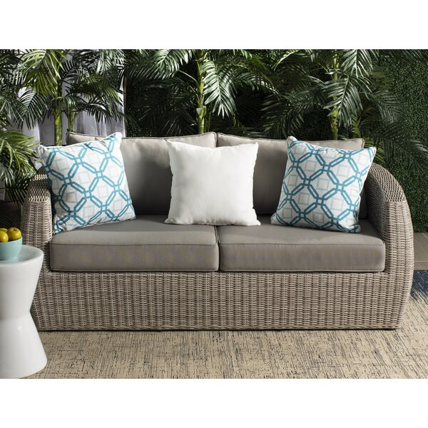 Dawkins Wicker Patio Sofa with Cushions by Rosecliff Heights