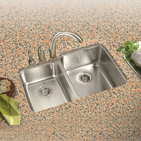 Medallion Classic 31.5 L x 17.94 - 20.19 W Undermount Double Bowl 60/40 Kitchen Sink with Small Left Bowl by Houzer