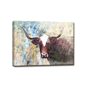 Long Horns Framed Graphic Art on Wrapped Canvas by Ready2hangart