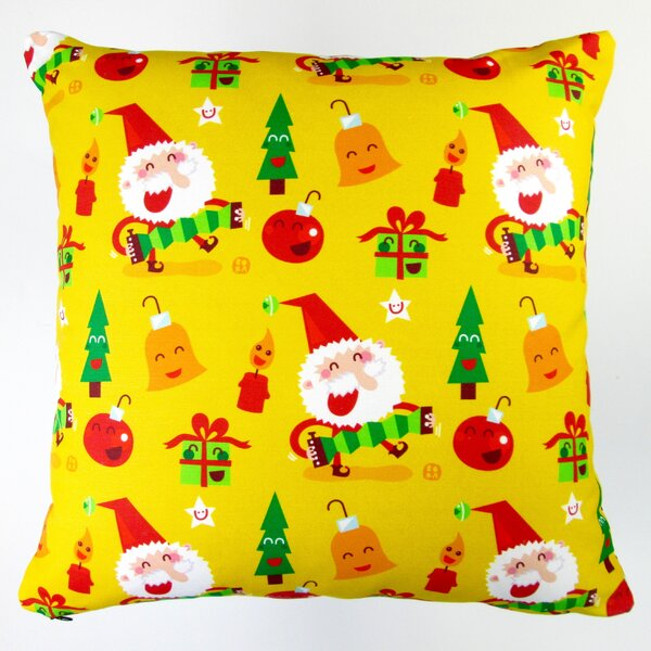 Christmas Happy Xmas Santa and Ornaments Throw Pillow by Artisan Pillows