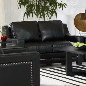 newberry nailhead trim leather loveseat in black - Black Leather Loveseat