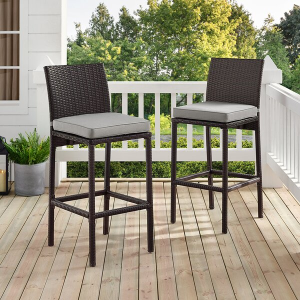 Spohn Deluxe 28-inch Patio Bar Stool With Cushion (Set Of 2) By Ivy Bronx