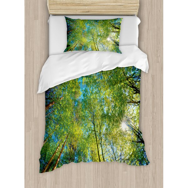 Forest Home Evergreen Back Nature Area Mother Earth Trunk Mangrove Flora Willow Decor Duvet Set by Ambesonne