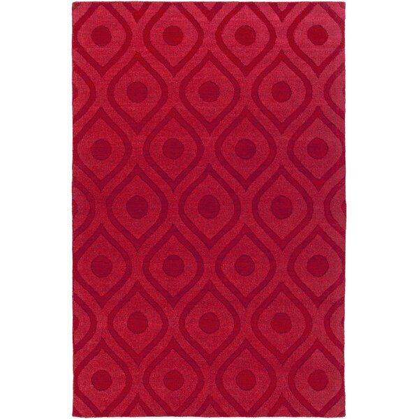 Castro Hand Woven Wool Red Area Rug by Wrought Studio