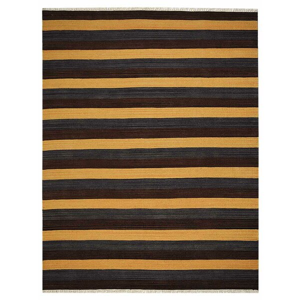 Housel Handmade Kilim Wool Black/Yellow Area Rug by Ebern Designs