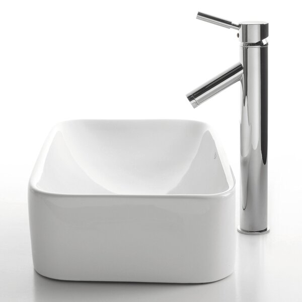Ceramic Ceramic Rectangular Vessel Bathroom Sink with Faucet by Kraus