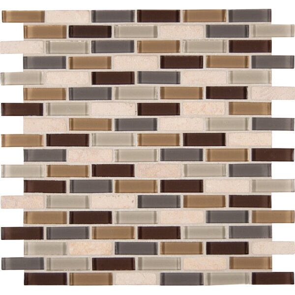 Tumbled 1'' x 2'' Glass Mosaic Tile in Luxor Valley Blend by MSI