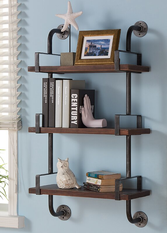Industrial Walnut Wood Floating Wall Shelf