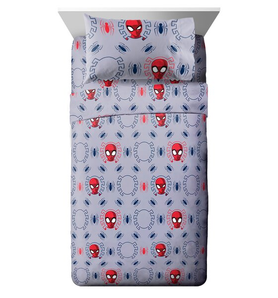 Marvel Spiderman Spidey Crawl Reversible Comforter Set (Set of 4) by Fingerlings