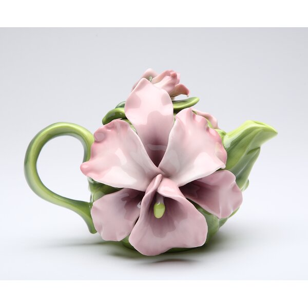 Pink Orchid 0.28-qt. Teapot by Cosmos Gifts