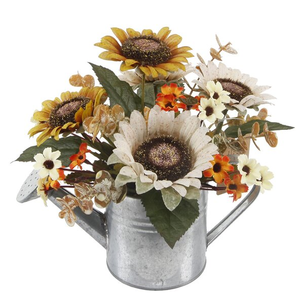 9 Sunflowers Mix Floral Arrangement in Watering Can by August Grove